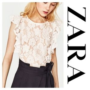 Zara Lace Butterfly Sleeves Crop Top White Small